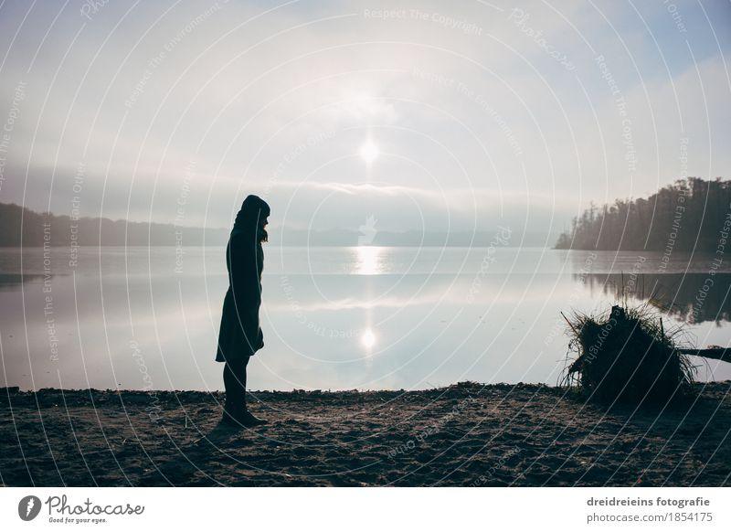 Alone. Adventure Far-off places Human being Feminine Woman Adults 1 Landscape Water Horizon Sunrise Sunset Sunlight Beautiful weather Lake Observe Stand Wait