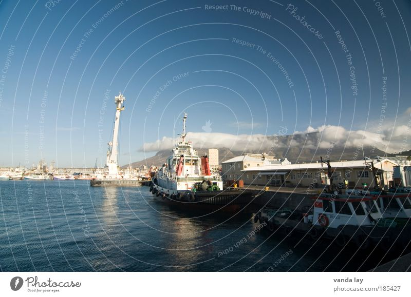 Victoria and Alfred Waterfront Industry Sky Cloudless sky Beautiful weather Fog Mountain Cape Town South Africa Capital city Port City Downtown Harbour