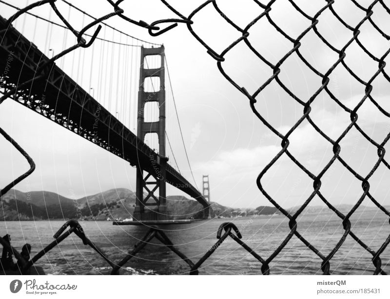 Vacation & Travel Black & white photo Time Power Coast Architecture Flag Perspective Bridge Experimental Might Technology Tourism Highway Copy Space Connection