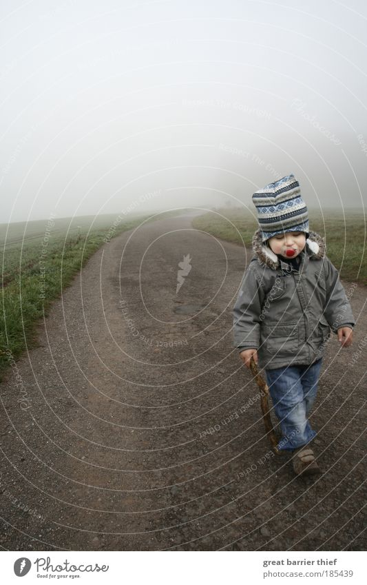 Warrior of Dreams Masculine Child Toddler Boy (child) Infancy Life 1 - 3 years Autumn Horizon Lanes & trails Fog Asphalt Walking aid Soother Curve Going