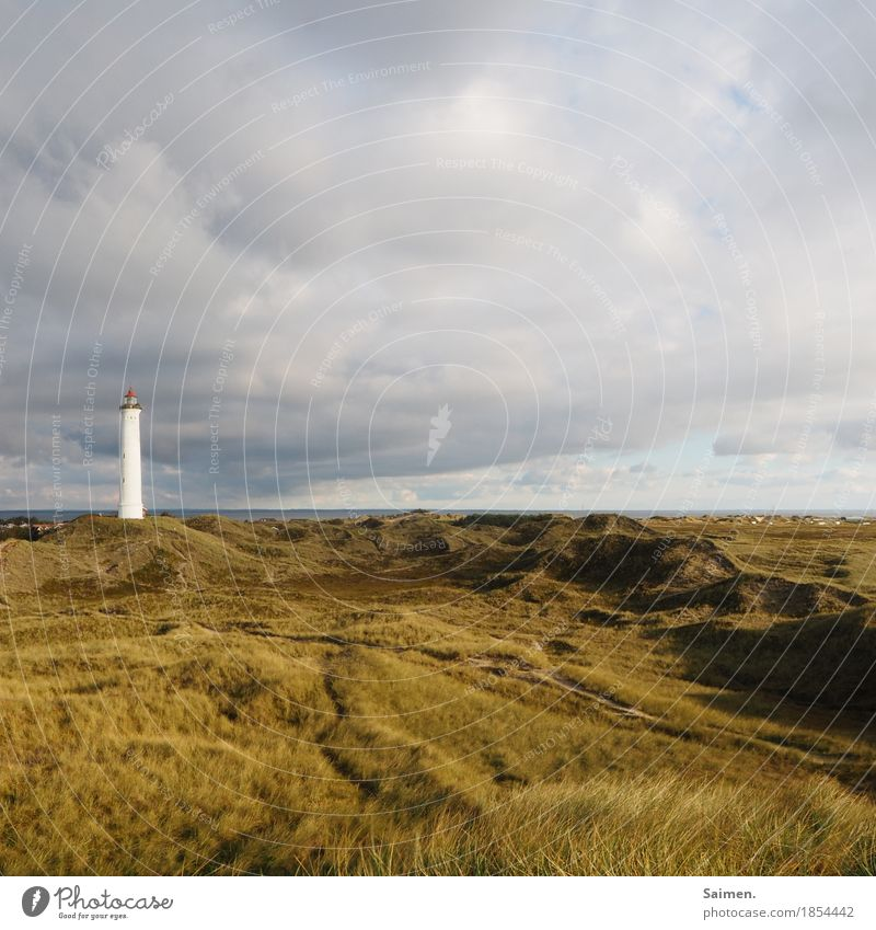 Lonely Giant Environment Nature Landscape Sky Vacation & Travel Dune Lighthouse Grass Coast Denmark Scandinavia Tower Colour photo Exterior shot Deserted