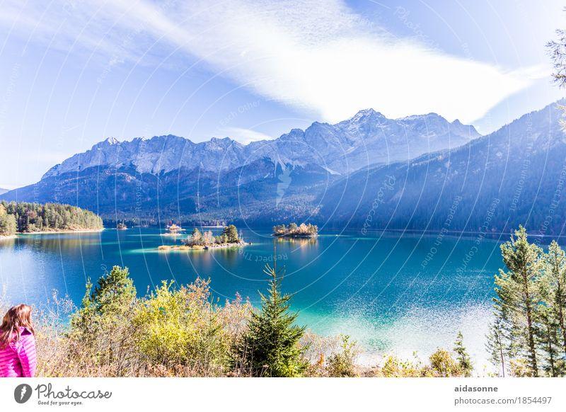 Eibsee Landscape Water Autumn Beautiful weather Alps Mountain Zugspitze Peak Lakeside Eib Lake Happy Contentment Joie de vivre (Vitality) Attentive Caution