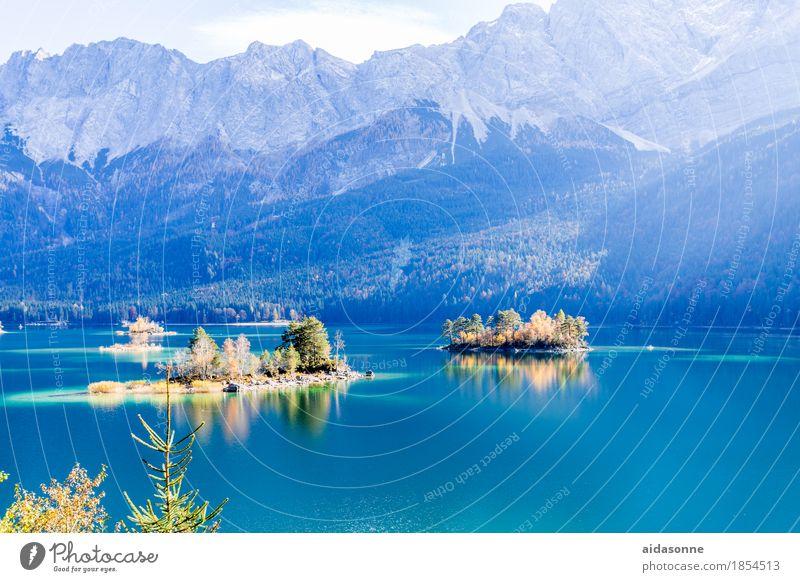 Nature Plant Beautiful Water Landscape Calm Forest Mountain Lake Rock Beautiful weather Romance Alps Serene Attentive Zugspitze