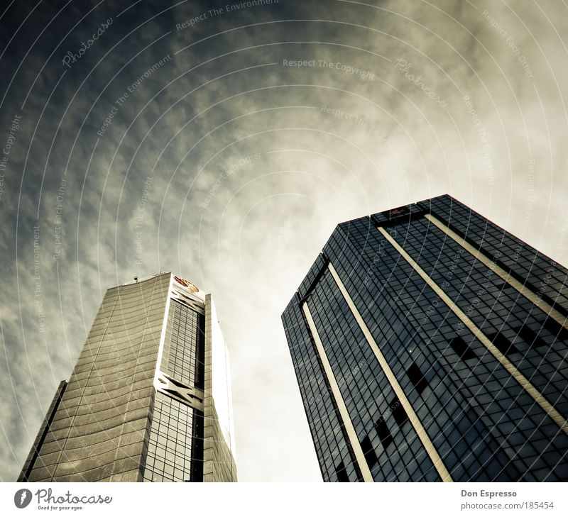 Sky City House (Residential Structure) Clouds Work and employment Window Air Business Architecture Success High-rise Facade Modern Bank building