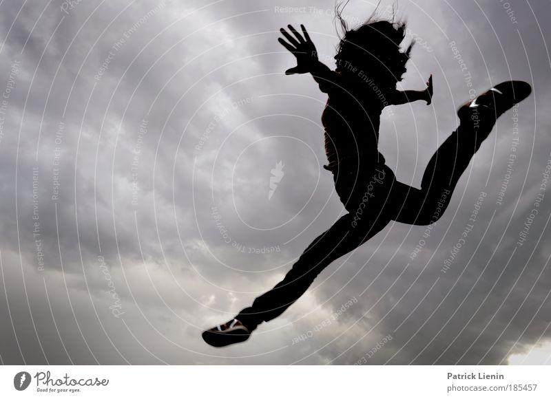 Woman Human being Hand Beautiful Gymnastics Joy Clouds Adults Feminine Hair and hairstyles Happy Jump Moody Footwear Body Power