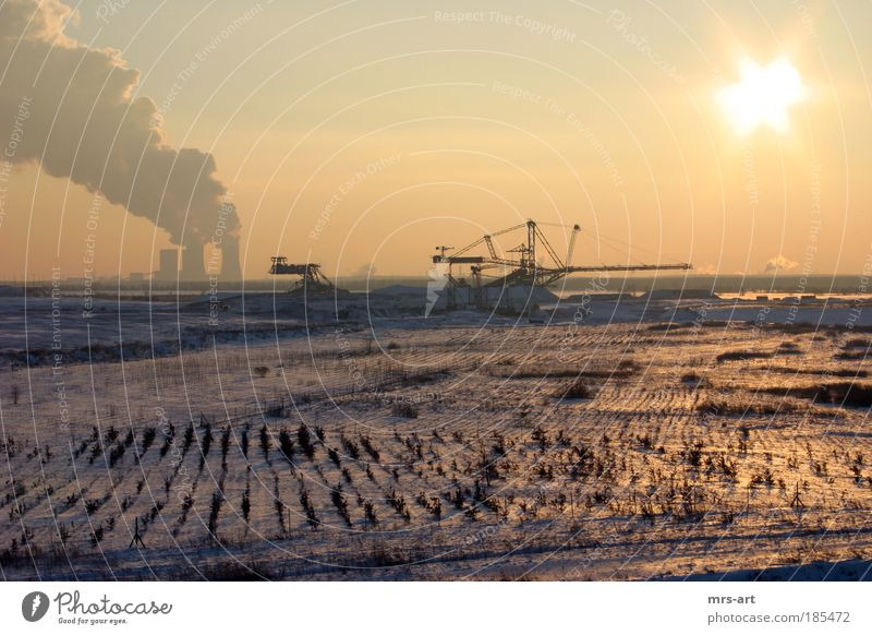 Open cast mine Zwenkau Energy industry Environment Nature Landscape Elements Earth Sun Sunrise Sunset Sunlight Winter Climate Climate change Ice Frost Snow