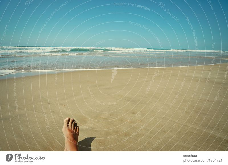 Human being Sky Vacation & Travel Summer Water Sun Ocean Loneliness Beach Feet Sand Individual