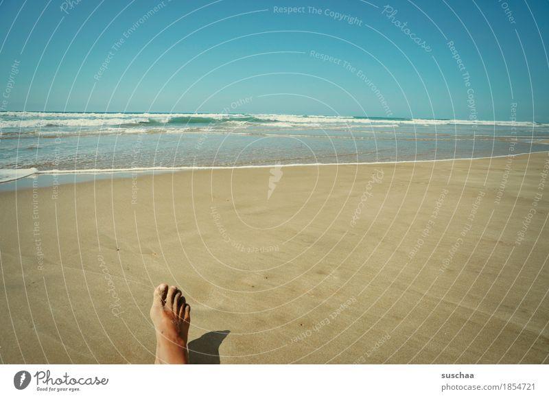 Human being Sky Vacation & Travel Summer Water Sun Ocean Loneliness Beach Feet Sand Individual