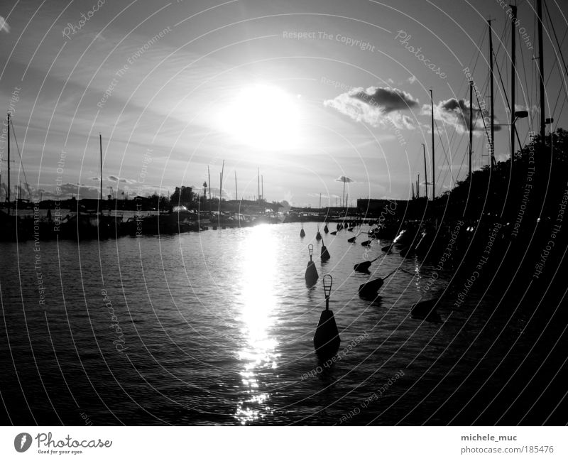 Sky Water City Vacation & Travel Clouds Cold Coast Waves Rope Europe Black & white photo Harbour North Sea Lakeside Navigation Sailing