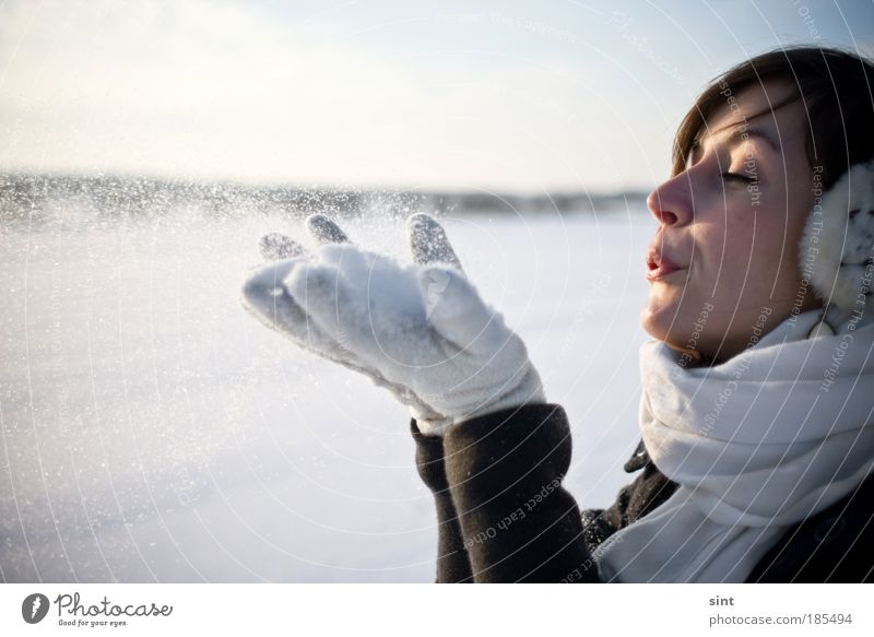 Woman Nature Youth (Young adults) Beautiful White Relaxation Calm Winter Adults 18 - 30 years Cold Snow Feminine Human being Happy Face