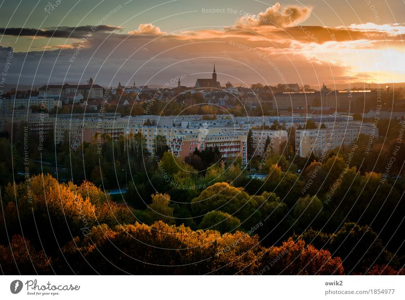 colourful city Landscape Sky Clouds Autumn Beautiful weather Tree Forest Bautzen Lausitz forest Germany Small Town Skyline Populated