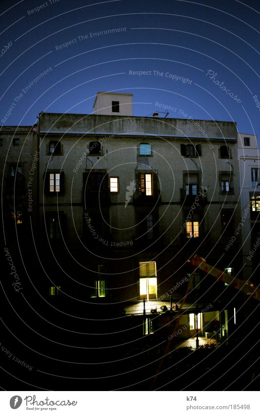 Backyard at 7:20 II Colour photo Exterior shot Deserted Twilight Town Old town House (Residential Structure) Building Architecture Wall (barrier) Facade Balcony