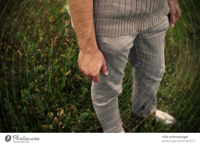 gripsholm Calm Trip Far-off places Freedom Masculine Man Adults Life Arm Hand Fingers Legs 1 Human being Nature Summer Meadow Pants Sweater Sneakers Stand Wait
