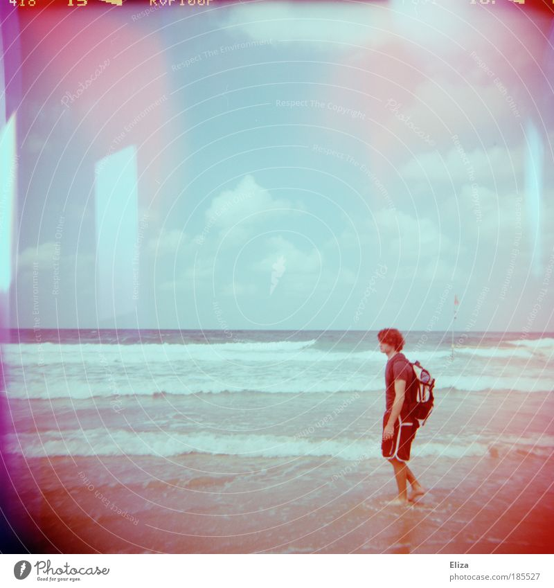 Lomography Ocean Beach Vacation & Travel Clouds Pink Masculine Nature To go for a walk Holga Going Patch Double exposure Barefoot Backpack