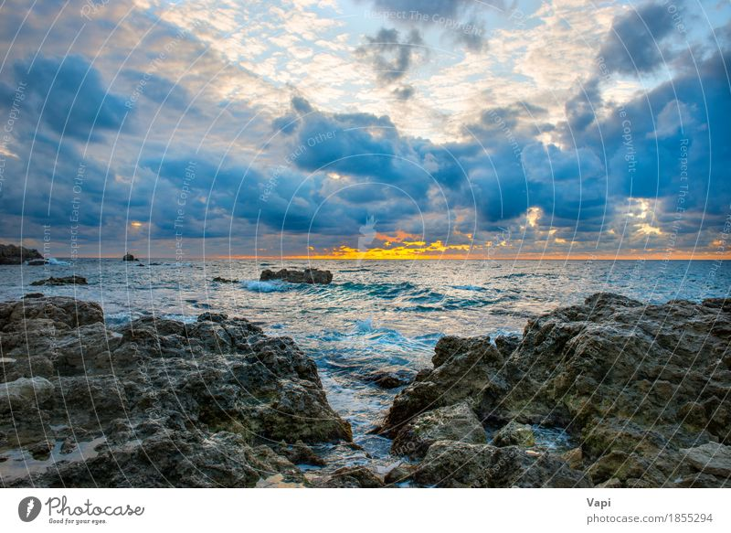 Sea landscape with bad weather Sky Nature Vacation & Travel Blue Colour Summer Water White Sun Ocean Landscape Red Clouds Beach Black Yellow