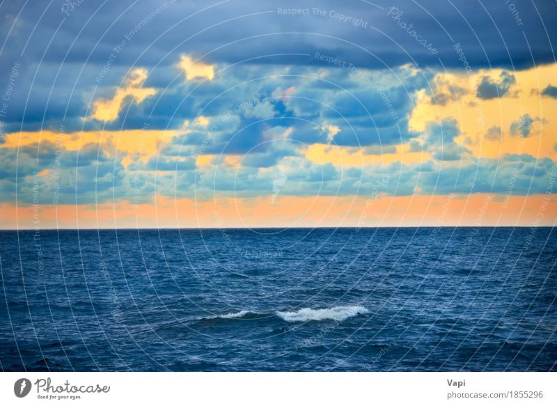 Big wave and colorful sunset over the sea Sky Nature Vacation & Travel Blue Colour Summer Water White Sun Ocean Landscape Red Clouds Environment Yellow Lake