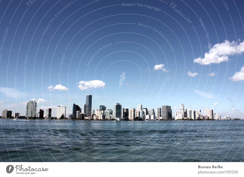 Water Ocean Blue City Clouds High-rise USA Vantage point Nature Building Americas Skyline House (Residential Structure) Florida Miami