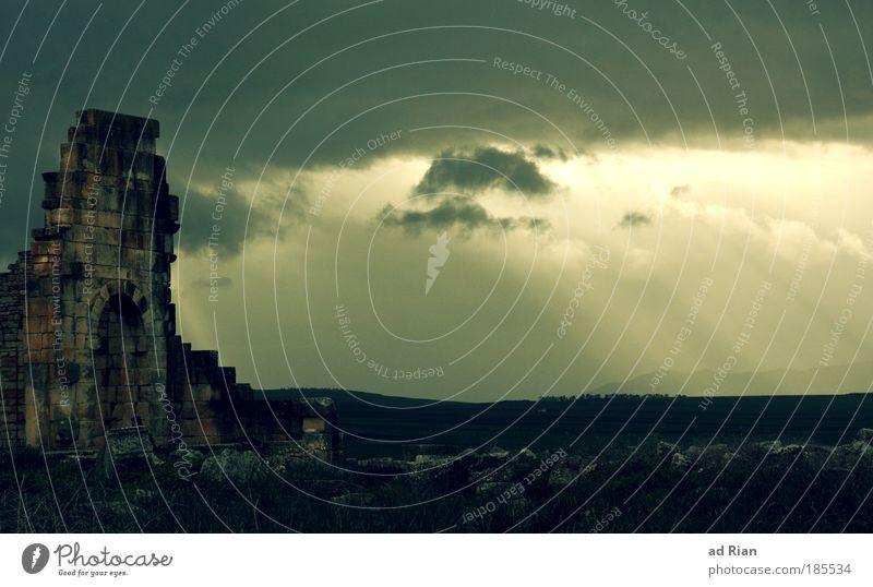 Sky Old Sun Clouds Dark Landscape Architecture Rain Fog Esthetic Might Threat Culture Manmade structures Gate