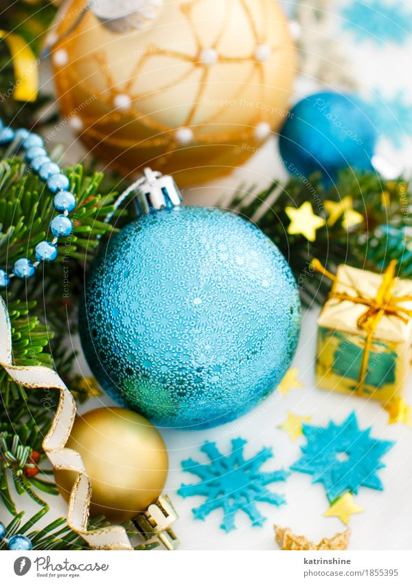 Turquoise and golden Christmas ornaments border Winter Decoration Christmas & Advent New Year's Eve Tree Ornament Sphere String Bright Blue Gold Green Tradition