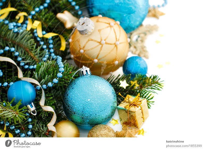 Turquoise and golden Christmas ornaments border Winter Decoration Christmas & Advent New Year's Eve Tree Ornament Sphere String Bright Blue Gold Green White