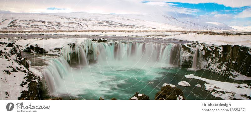 Waterfall Godafoss in wintertime in Iceland Vacation & Travel Tourism Adventure Sightseeing Winter Nature Landscape River frozen icy water Europe big huge gods