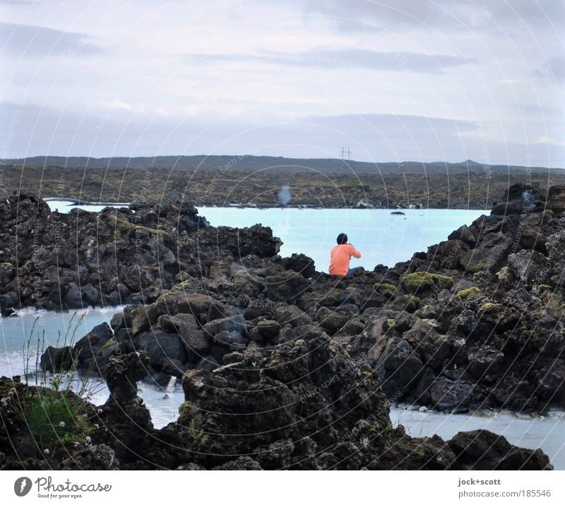 lava lounge Well-being Calm Spa Trip Far-off places Human being 1 Landscape Bad weather Lava field Sweater Think Relaxation Sit Cold Natural Emotions Power