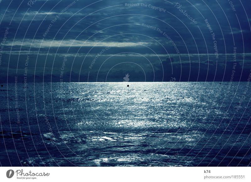 seascape with sunbeams Ocean Water Sun Reflection Light Horizon Calm Blue Harmonious Longing Wanderlust Landscape Nature Radiation Illuminate