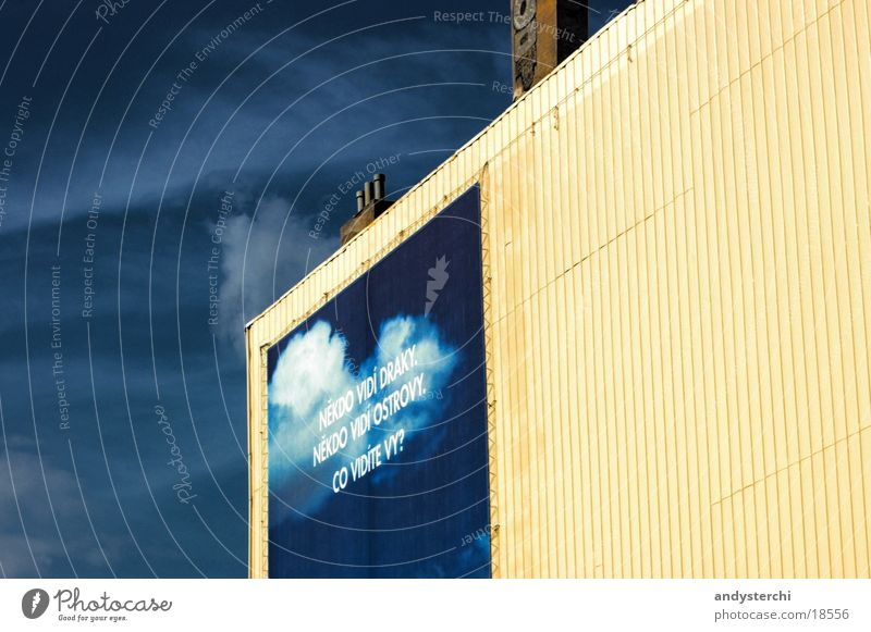 Sky on the wall Building Poster Clouds Painted Yellow Large Furrow Facade Wall (barrier) Prague Word Architecture Warehouse Advertising Graffiti Storage Blue