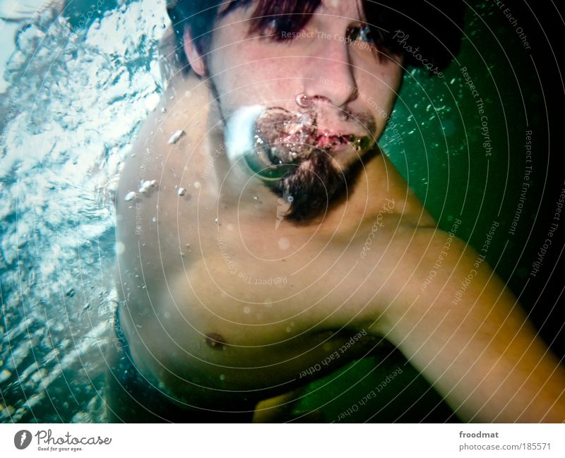 bubble shooter Human being Masculine Young man Youth (Young adults) Man Adults Mouth Breathe To enjoy Dive Exceptional Cool (slang) Fluid Cold Athletic Joy