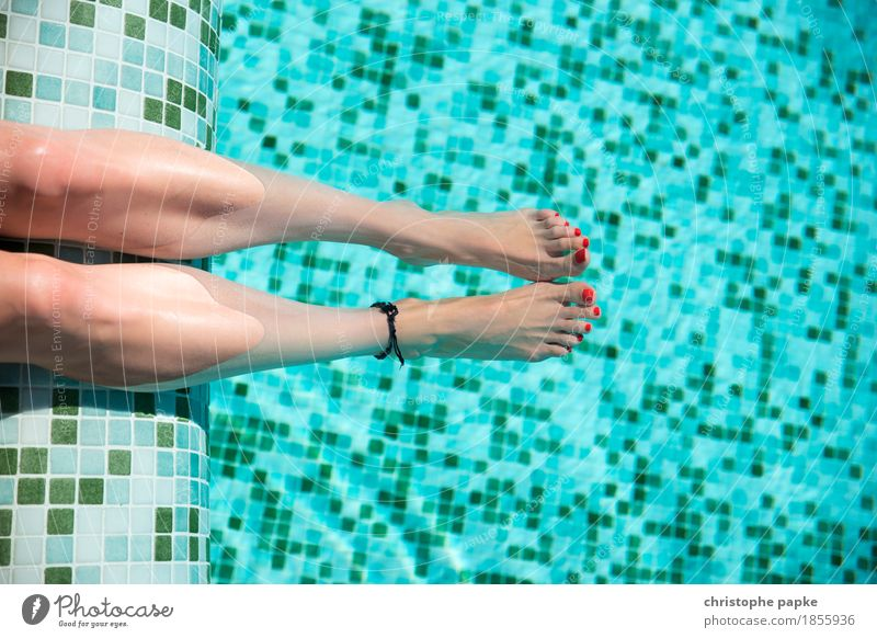 female feet with red nail polish in pool Nail polish Vacation & Travel Tourism Summer Summer vacation Sunbathing Swimming pool Feminine Woman Adults Legs 1