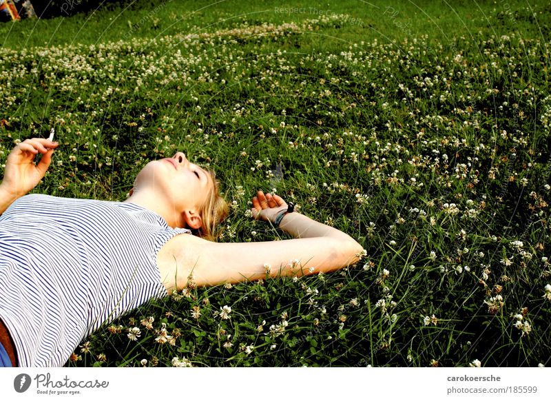 copper twist Happy Smoking Sunbathing Feminine Young woman Youth (Young adults) 1 Human being Summer Grass Wild plant Meadow Relaxation To fall To enjoy Vice