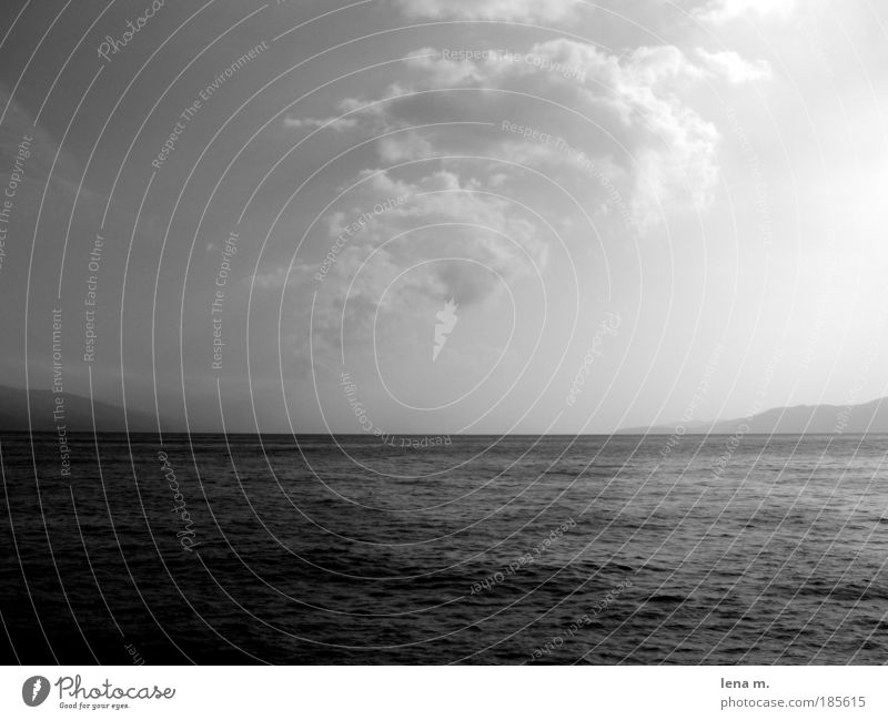 sun has not always to be colourful... Water Sky Horizon Beautiful weather Esthetic Calm Far-off places Ocean Black & white photo Exterior shot Deserted Day