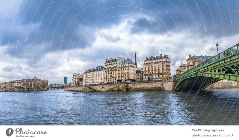 Seine River in Paris on a cloudy day Vacation & Travel Tourism City trip Clouds Storm clouds Weather Bad weather Bridge Building Architecture Cold Moody Februar