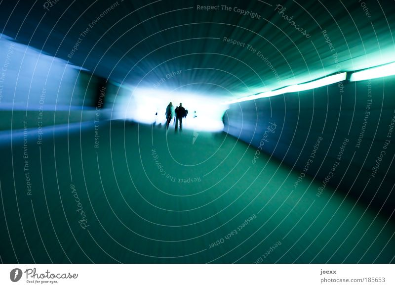 The long way into the light Human being 2 4 Tunnel Underpass Traffic infrastructure Pedestrian Running Movement Walking Illuminate Threat Dark Bright Speed Blue