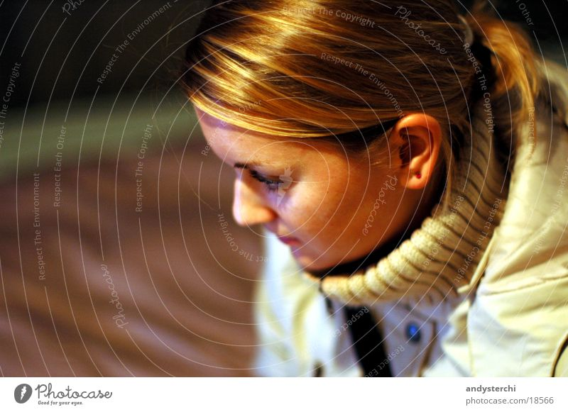 Are you looking at something? Blonde Jacket Collar Glittering Woman Looking Head Observe Hair and hairstyles