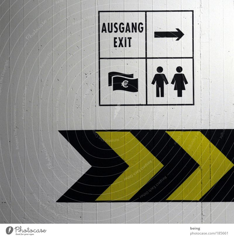 a couple goes with their savings to the exit Bathroom Financial Industry Financial institution Business Couple Parking garage Sign Characters Signage