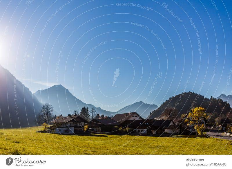 Bavaria Landscape Cloudless sky Autumn Beautiful weather Mountain Alps Garmisch-Partenkirchen Germany Europe Village Town House (Residential Structure)