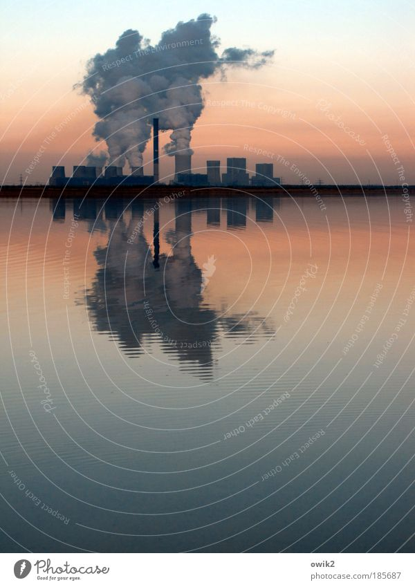 Water Environment Landscape Lake Mining Horizon Silhouette Electricity generating station Climate Energy industry Future Industry Technology Exterior shot Lakeside Stress