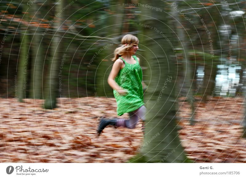 forest run Track and Field Walking Running Hundred-metre sprint Hiking Woodground Clearing Tree Human being Feminine Young woman Youth (Young adults) 1 Nature