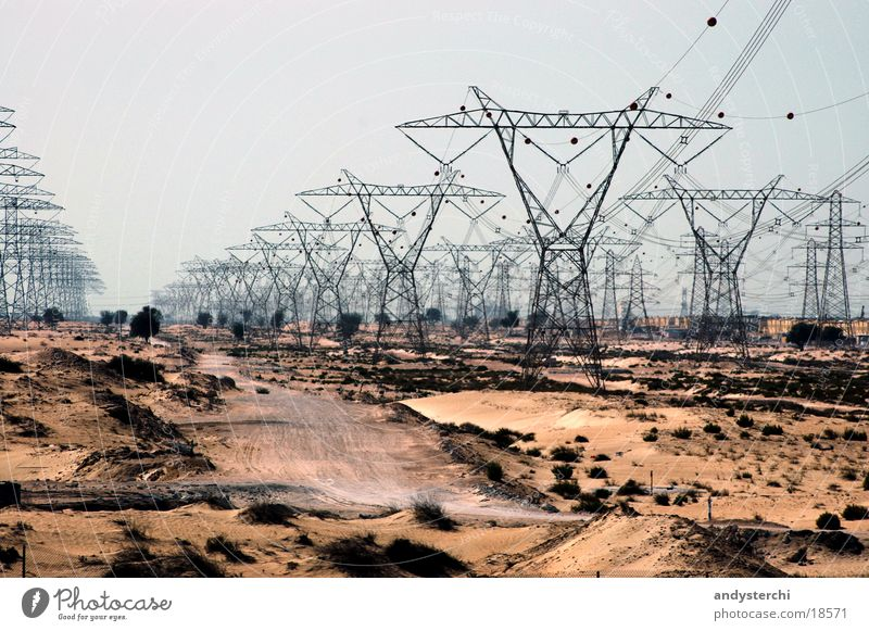 More Power Electricity High-power current Dubai United Arab Emirates Electrical equipment Technology Electricity pylon Transmission lines Cable Metal Desert