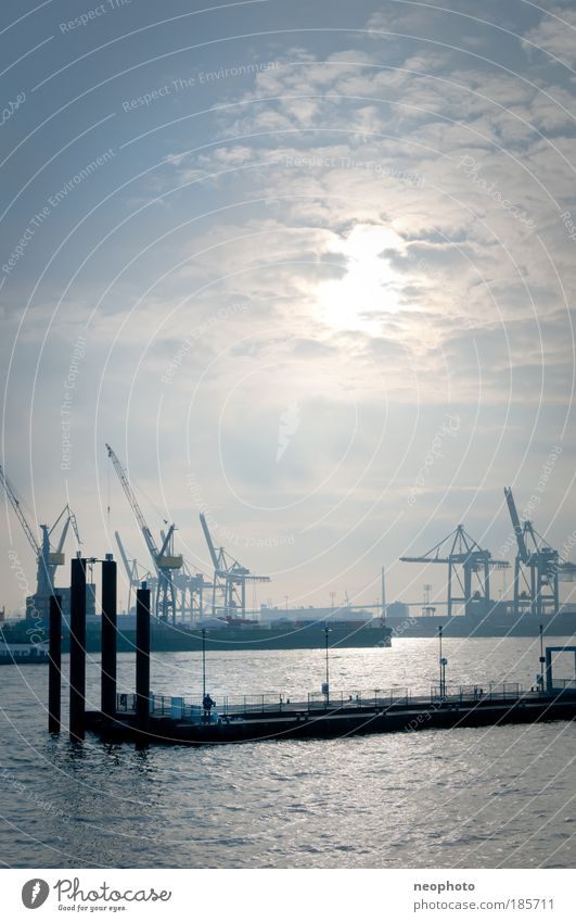Hamburg Watercraft City Fog Clouds Silhouette Success Logistics Harbour Economy Jetty Landmark Crane Elbe