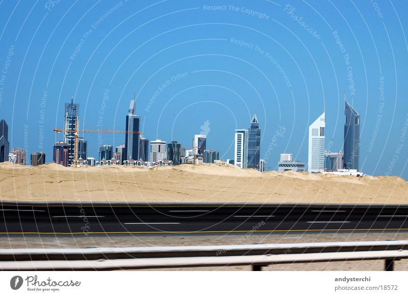 Street Sand Architecture High-rise Skyline Downtown Dubai United Arab Emirates