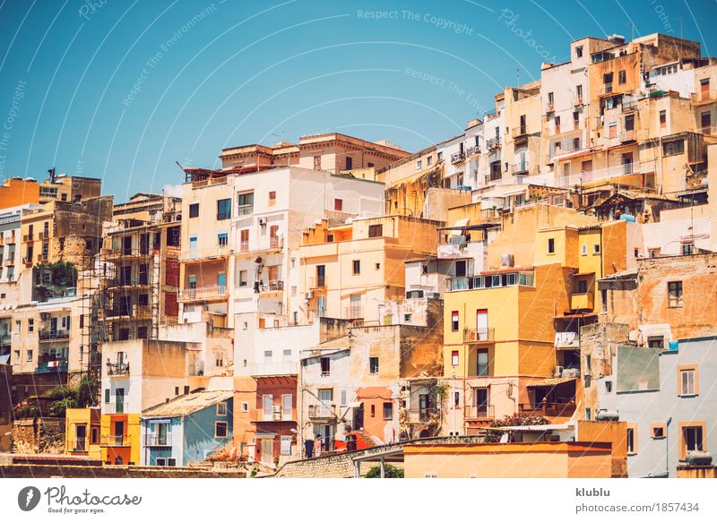 Detail view from Sciacca, Sicily, Italy Old Town Tree Flower Ocean House (Residential Structure) Street Architecture Coast Building Facade Copy Space Transport
