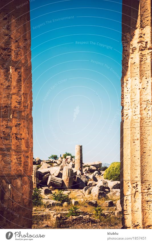 Ancient Greek temple in Selinunte, Sicily, Italy Vacation & Travel Tourism Culture Landscape Sky Ruin Building Architecture Monument Stone Old Historic Society
