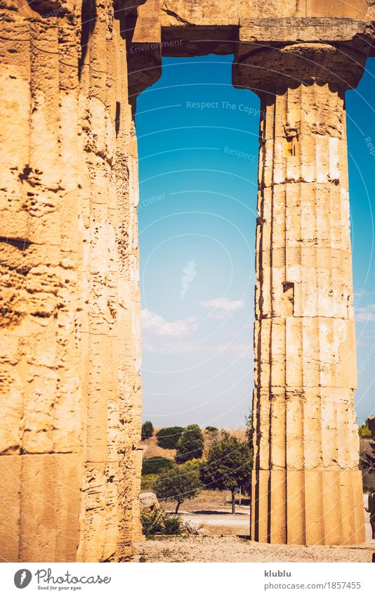 Ancient Greek temple in Selinunte, Sicily, Italy Sky Vacation & Travel Old Landscape Architecture Religion and faith Building Stone Tourism Europe Culture Italy Historic Monument European Society