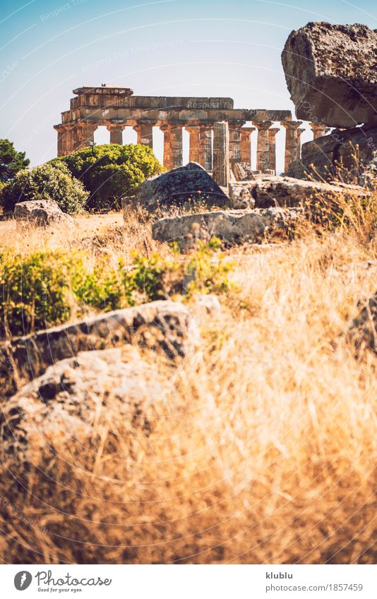Ancient Greek temple in Selinunte, Sicily, Italy. Detail view. Vacation & Travel Tourism Culture Landscape Sky Ruin Building Architecture Monument Stone Old