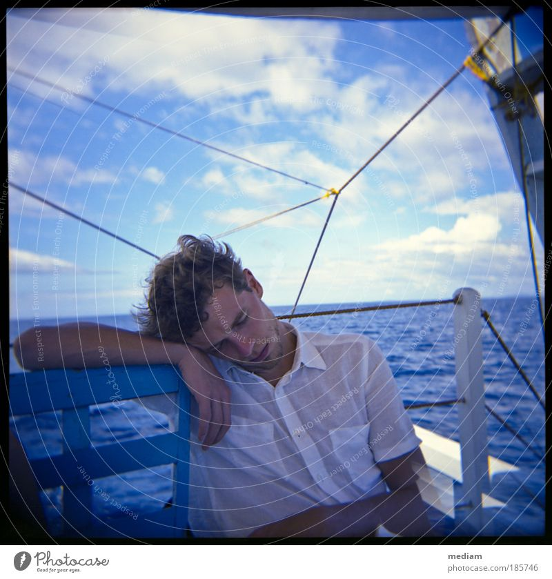 Human being Youth (Young adults) Water Blue Vacation & Travel Ocean Calm Far-off places Relaxation Freedom Dream Adults Watercraft Horizon Sleep Free
