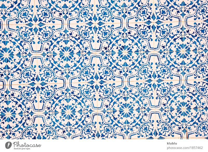 Blue and white ceramic tile pattern. Design Handcrafts Decoration Bathroom Craft (trade) Art Building Architecture Old White Colour Tradition Image backdrop
