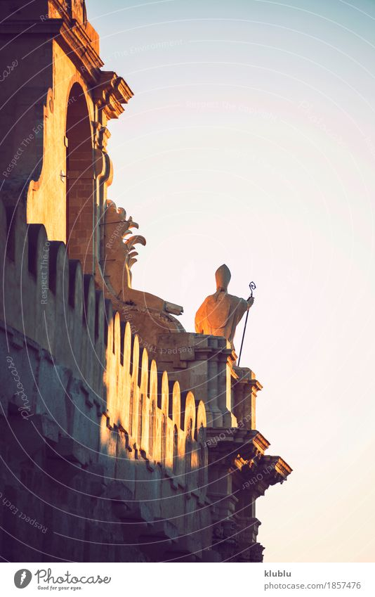 Detail view of Syracuse, Sicily, Italy Style Tourism Island Culture Sky Town Building Architecture Facade Monument Street Old siracusa Italian sculpture