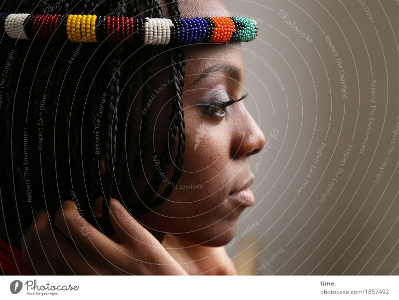 . Feminine 1 Human being Jewellery Black-haired Long-haired Dreadlocks Observe Think To hold on Looking Wait Beautiful Passion Protection Watchfulness Serene